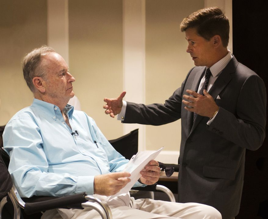 """Fox News commentator and author Bill O'Reilly, left, and actor Rob Lowe on the set of National Geographic Channel's """"Killing Kennedy,"""" in Richmond, Va. (AP Photo/National Geographic Channel, Kent Eanes)"""