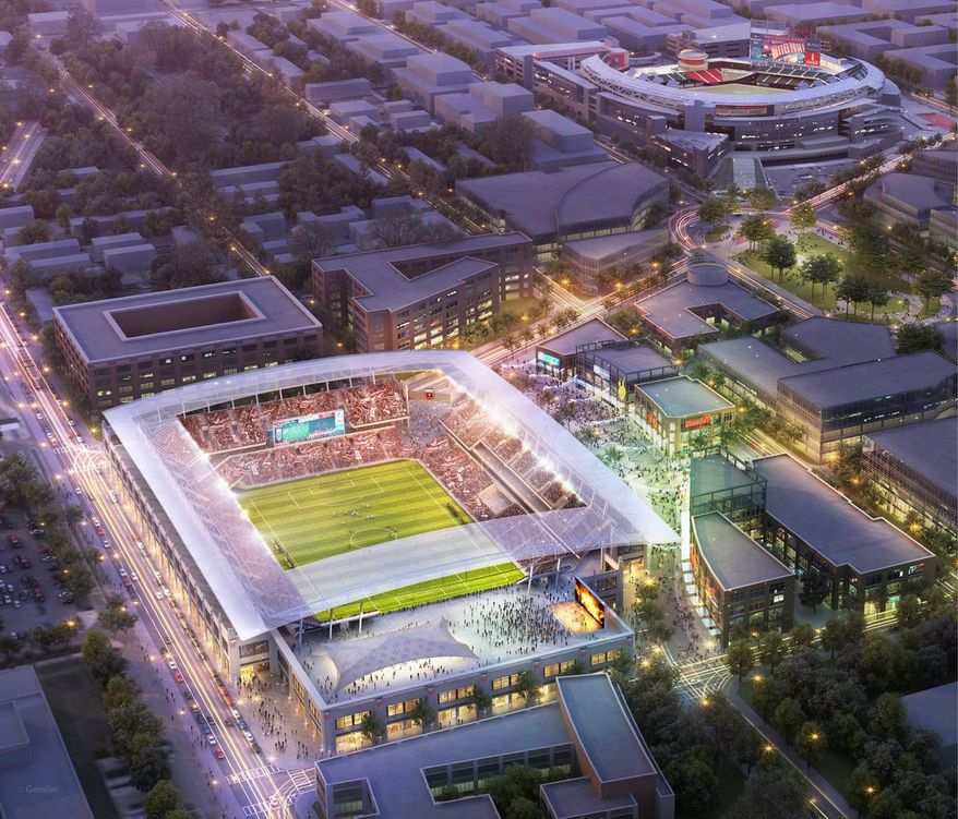 Artist's rendering of the proposed D.C. United soccer stadium near Nationals Park in Southwest D.C. (D.C. United)
