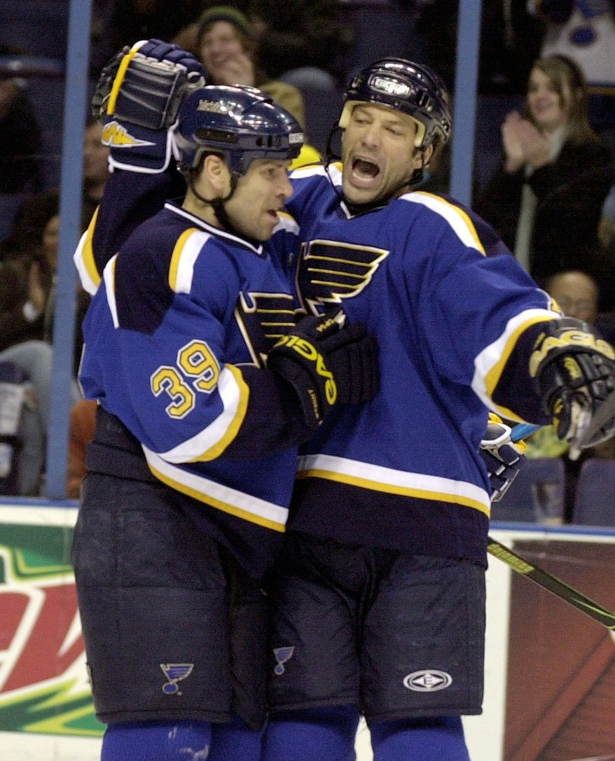 **FILE** St. Louis Blues' Bill Guerin, right, celebrates his goal against the Detriot Red Wings with teammate Doug Weight in the second period in an NHL hockey game Thursday, Feb. 8, 2007, in St. Louis. The Blues won, 1-0. (AP Photo/Bill Boyce)