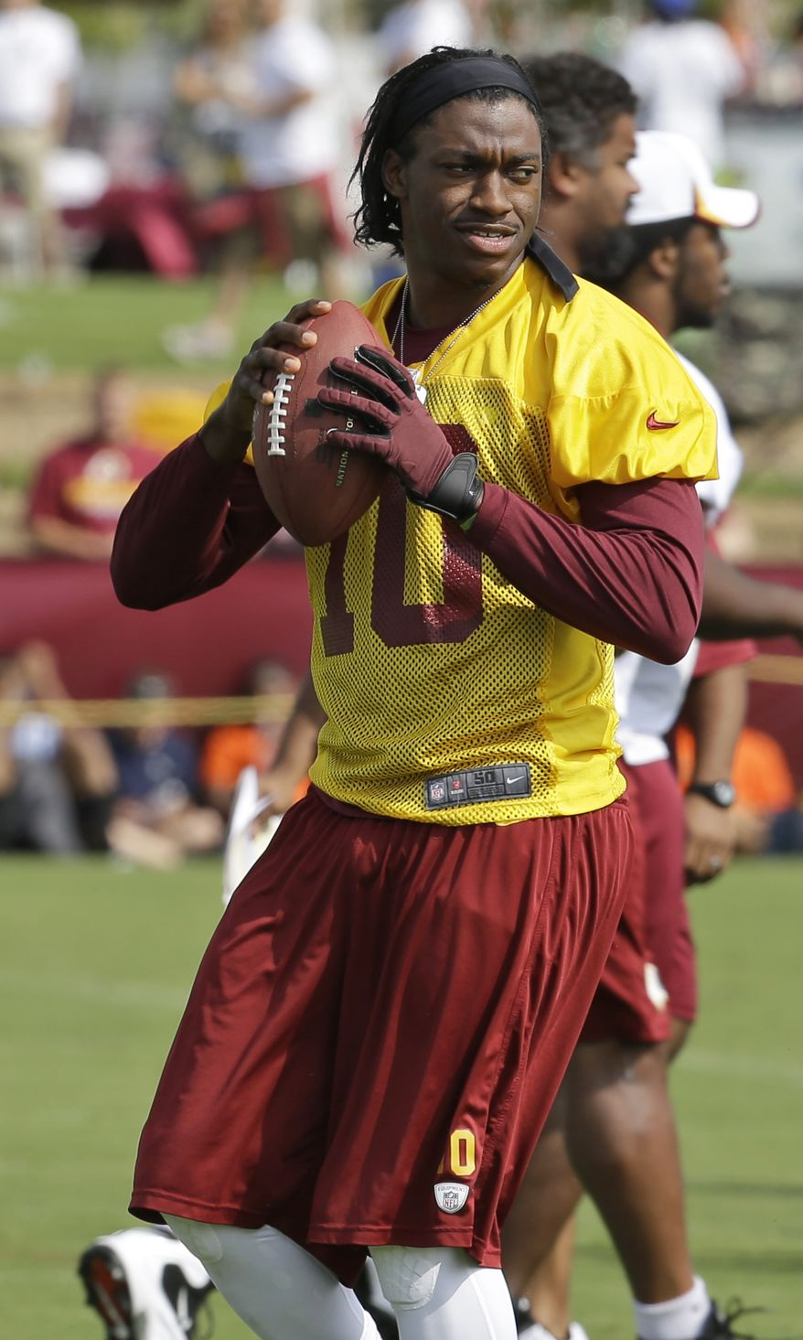 Washington Redskins quarterback Robert Griffin III tosses a pass at the start of training camp at the teams NFL football training facility in Richmond, Va. Thursday, July 25, 2013. The chances of becoming a pro football player are 1.7%.