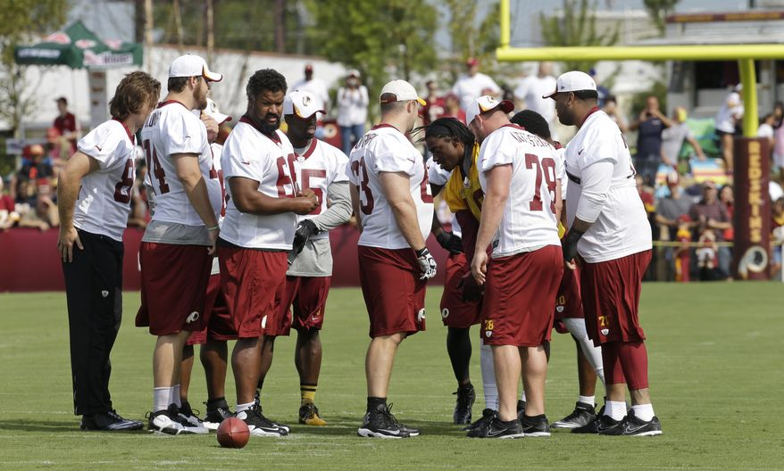 Washington Redskins quarterback, Robert Griffin III, third from right, huddles up with his team as they begin their training camp at the NFL football teams new practice facility in Richmond, Va. Thursday, July 25, 2013. (AP Photo/Steve Helber)