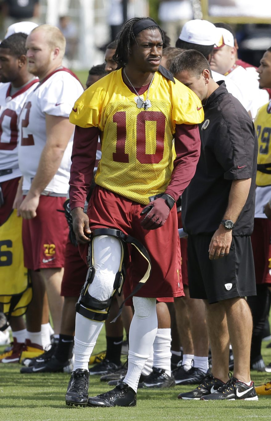 Washington Redskins quarterback Robert Griffin III attempts to put his knee brace during NFL football training camp at the team's new practice facility in Richmond, Va. Thursday, July 25, 2013. (AP Photo/Steve Helber)