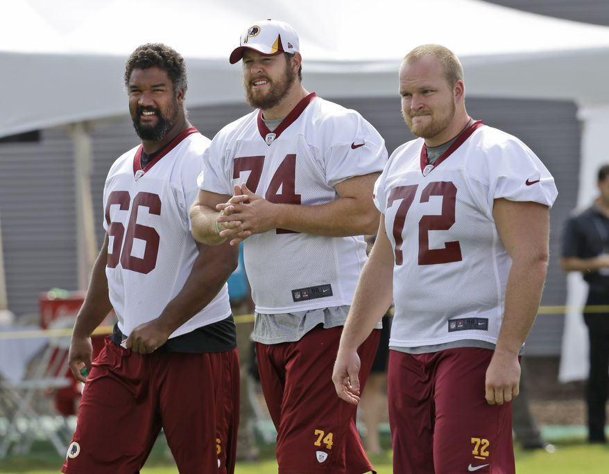 Washington Redskins Washington Redskins guard Chris Chester (66) tackle Tyler Polumbus (74) and defensive end Kevin Matthews (72) walk on the field as they begin their training camp at the NFL football teams new practice facility in Richmond, Va. Thursday, July 25, 2013. (AP Photo/Steve Helber)