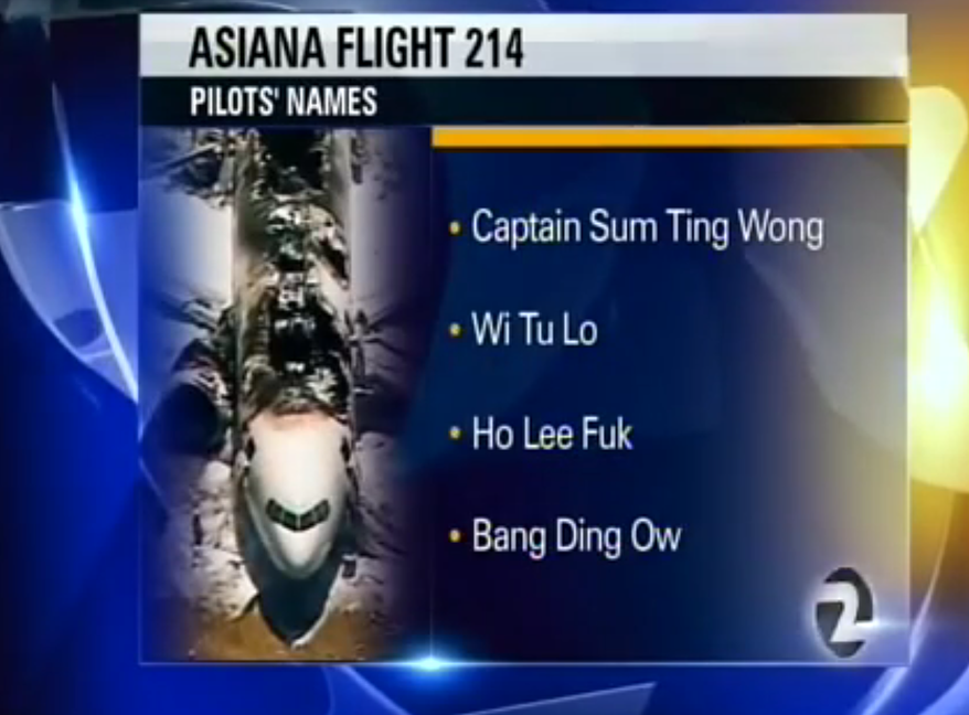 KTVU screen shot from the station's bogus report on the flight crew from doomed Asiana flight that crash-landed in San Francisco.