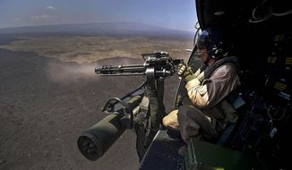 U.S. Marine Corps Cpl. Richard Sippl, a flight crew chief assigned to Marine Light Attack Helicopter Squadron (HMLA) 169, fires a 7.62 mm M134 Minigun. (Credit: Department of Defense)