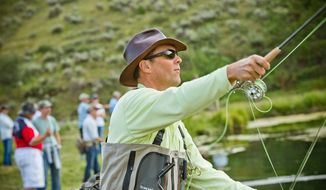 Fly-fishing is just one of the activities shared by businessmen, regulators, bankers and political leaders during the annual Rocky Mountain Economic Summits organized by brothers Justin and Cody Hyde at their Wyoming ranch. (Russ Dixon)