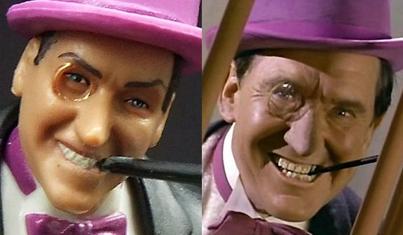 """Mattel's Batman: Classic TV Serie' Penguin compared to actor Burgess Meredith as The Penguin for the TV show """"Batman."""""""