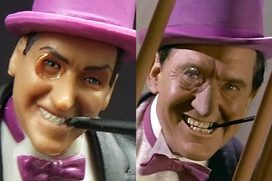 "Mattel's Batman: Classic TV Serie' Penguin compared to actor Burgess Meredith as The Penguin for the TV show ""Batman."""