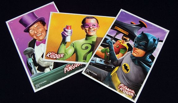 Each of Mattel's Batman Classic TV Series figures includes an illustrated Collector's Card. (Photograph by Joseph Szadkowski / The Washington Times)