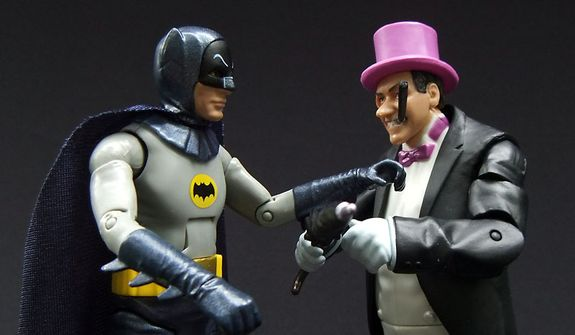 Mattel's Classic TV Series Batman has words with The Penguin. (Photograph by Joseph Szadkowski / The Washington Times)