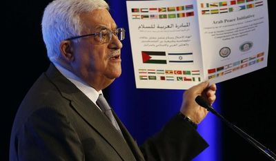 ** FILE ** Palestinian President Mahmoud Abbas speaks at the World Economic Forum on the Middle East and North Africa at the King Hussein Convention Center at the Dead Sea in Jordan on Sunday, May 26, 2013. (AP Photo/Jim Young, Pool)