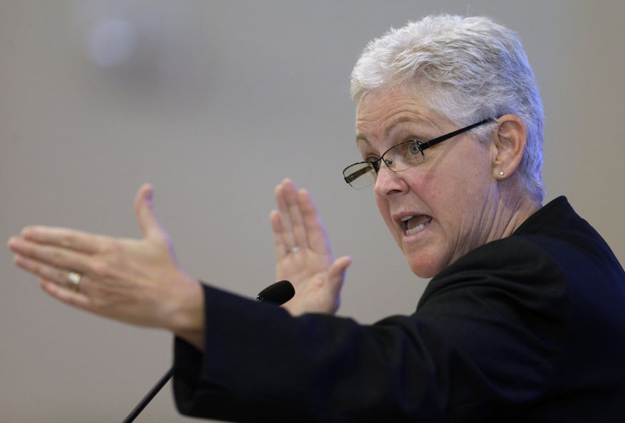 **FILE** New U.S. Environmental Protection Agency Administrator Gina McCarthy delivers a speech at Harvard Law School in Cambridge, Mass., on July 30, 2013. During her speech, the first as the head of the EPA, McCarthy told an audience that curbing climate-altering pollution will strengthen the economy. (Associated Press)