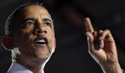 ** FILE ** In this July 25, 2013, file photo, President Barack Obama gestures as he speaks at the Jacksonville Port in Jacksonville, Fla. (AP Photo/Susan Walsh, File)