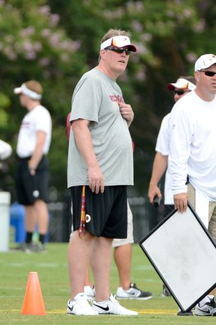 Washington Redskins Director of Player Personnel Scott Campbell during afternoon practice at the Bon Secours Washington Redskins Training Center, Richmond, Va., Tuesday, July 30, 2013. (Andrew Harnik/The Washington Times)