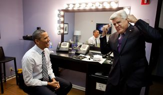"President Barack Obama and Jay Leno joke backstage before taping ""The Tonight Show with Jay Leno"" in Burbank, Calif., Oct. 25, 2011. (Official White House Photo by Pete Souza)"