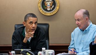 President Barack Obama makes a point during one in a series of meetings in the Situation Room in 2011. National Security Adviser Tom Donilon is pictured at right. (Official White House Photo by Pete Souza) **FILE**