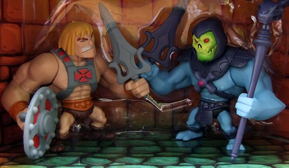 Mattel's 2013 San Diego Comic Con exclusive diorama Classics Mini He-Man and Skeletor features two familiar action figures. (Photograph by Joseph Szadkowski / The Washington Times)