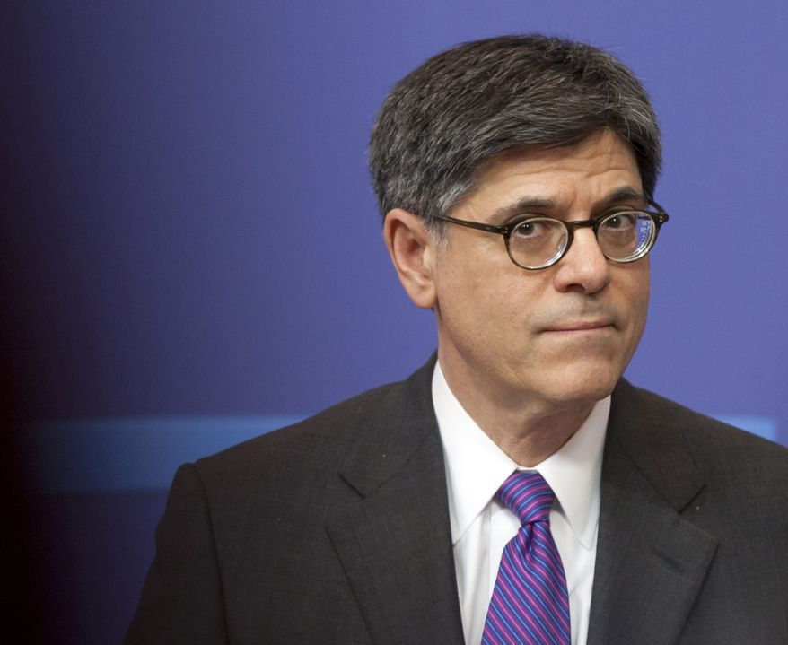 ** FILE ** In this April 8, 2013, file photo U.S. Treasury Secretary Jacob Lew listens to a question during a media conference at EU headquarters in Brussels. (AP Photo/Virginia Mayo File)