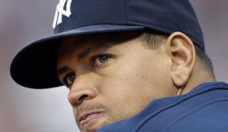 FILE - In this Aug. 22, 2009, file photo, New York Yankees' Alex Rodriguez watches from the dugout in the eighth inning of a baseball game against the Boston Red Sox at Fenway Park in Boston. Baseball is threatening to kick Rodriguez out of the game for life unless the Yankees star agrees not to fight a lengthy suspension for his role in the sport's latest drug scandal, according to a person familiar with the discussions. (AP Photo/Elise Amendola, File)