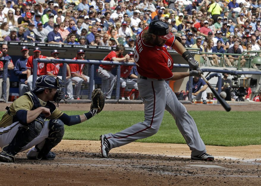 Washington Nationals outfielder Jayson Werth hits during the Nationals' 8-5 loss to the Milwaukee Brewers. (Associated Press photo)