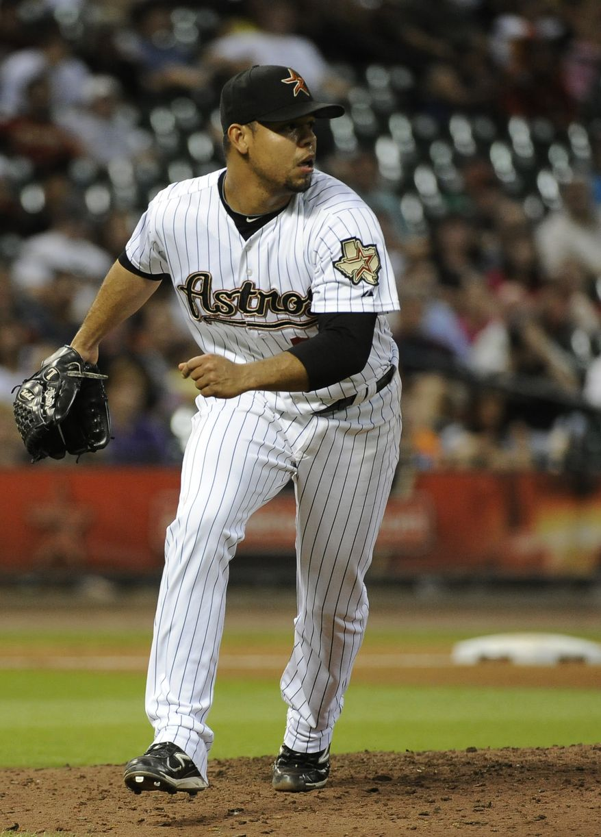 FILE -- Houston Astros' Sergio Escalona in a baseball game against the Pittsburgh Pirates Tuesday, June 14, 2011, in Houston. (AP Photo/Pat Sullivan)