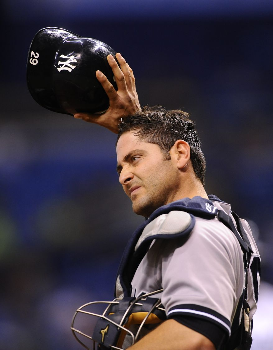 FILE -- New York Yankees catcher Francisco Cervelli (29) reacts during the fourth inning of a baseball game against the Tampa Bay Rays Wednesday, April 24, 2013, in St. Petersburg, Fla. (AP Photo/Brian Blanco)