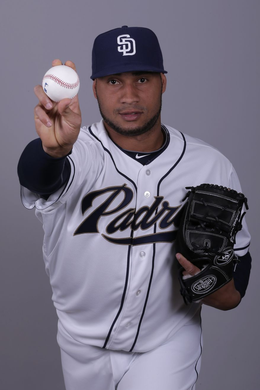 FILE -- This is a 2013 photo of Fautino De Los Santos of the San Diego Padres baseball team. (AP Photo/Charlie Riedel)