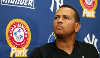 In this Aug. 3, 2013, photo, New York Yankees' Alex Rodriguez speaks to reporters during a news conference after a minor league baseball rehab start with the Trenton Thunder in a game against the Reading Fightin Phils, in Trenton, N.J. (AP Photo/Rich Schultz)