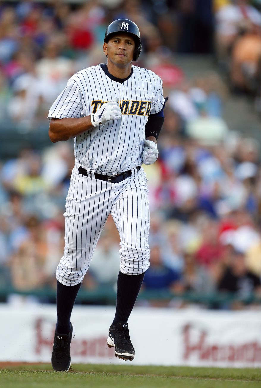 New York Yankees' Alex Rodriguez trots to first base after drawing a walk during the first inning of a Class AA baseball game with the Trenton Thunder against the Reading Phillies Saturday, Aug. 3, 2013, in Trenton, N.J. (AP Photo/Rich Schultz)
