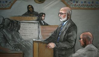 "In this courtroom sketch, James ""Whitey"" Bulger, right, listens to his defensive attorney, J.W. Carney Jr., during closing arguments at U.S. District Court, in Boston, Monday, Aug. 5, 2013. Bulger's lawyers used their closing arguments to go after three gangsters who took the stand against the reputed Boston crime boss, portraying them as pathological liars whose testimony was bought and paid for by prosecutors. (AP Photo/Jane Flavell Collins)"