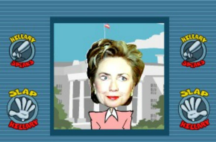 "The Hillary Project website hosts a game that allows users to ""slap"" a cartoon Hillary Clinton. (Image: TheHillaryProject.com)"
