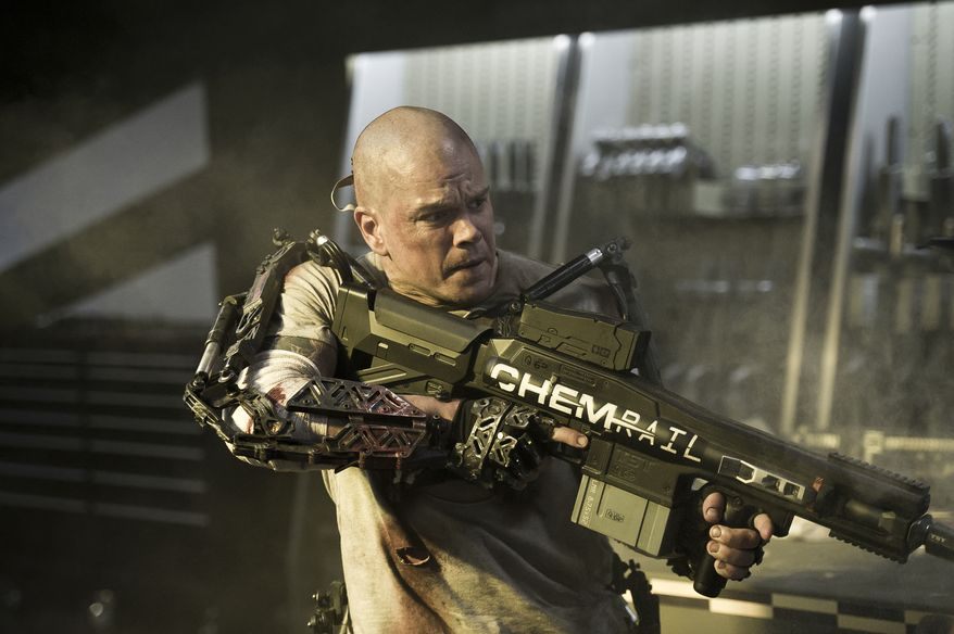 "Matt Damon in a scene from ""Elysium."" (AP Photo/TriStar, Columbia Pictures - Sony, Kimberley French)"