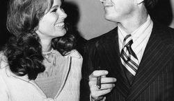 """In this Sept. 11, 1970 photo, Jack Nicholson, right, and co-star Karen Black appear together in New York at the premiere of their film """"Five Easy Pieces."""" Black's husband, Stephen Eckelberry, says the actress died Wednesday of cancer. She was 74.  (AP Photo, File)"""