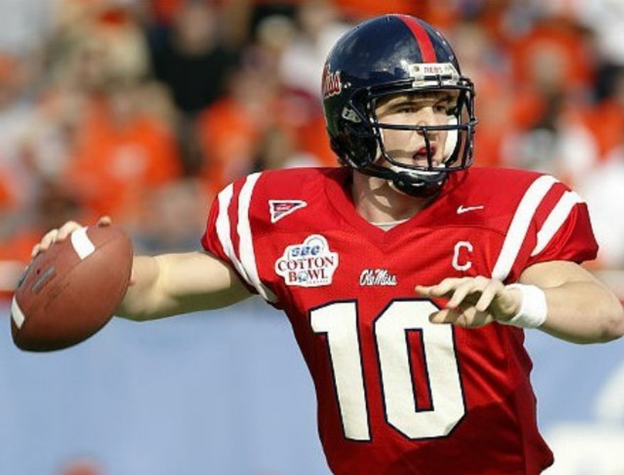 Super Bowl champ Eli Manning as an Ole Miss Rebel.