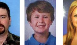 This composite photo provided by the San Diego Sheriff's Department shows: James Lee Dimaggio, 40, left, Ethan Anderson, 8, and Hannah Anderson, 16, whose mother, Christina Anderson, 42, was one of two people found dead in a house fire Sunday night, Aug. 4, 2013. (AP Photo/San Diego Sheriff's Department, File)