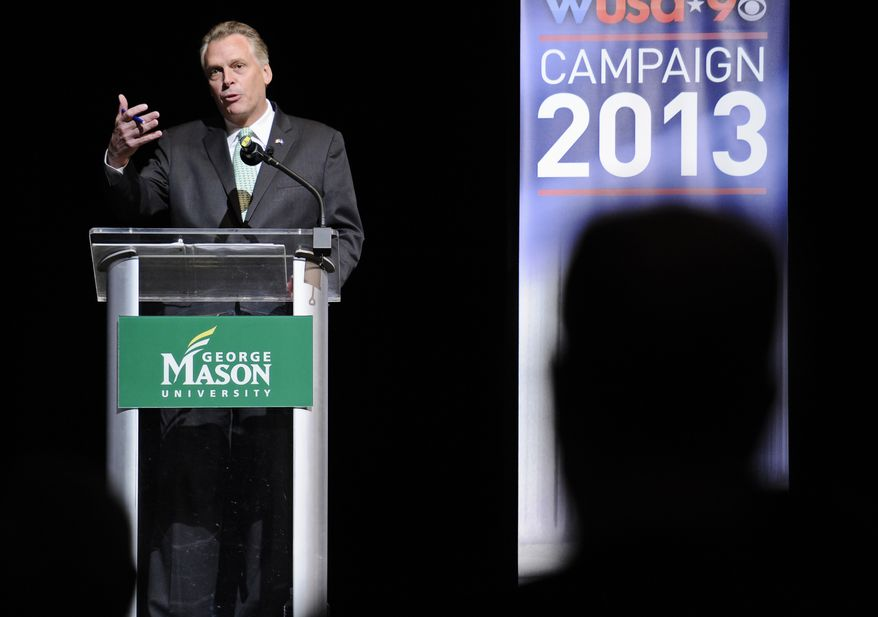 Virginia Democratic gubernatorial candidate Terry McAuliffe speaks Aug. 9, 2013, at the Battleground Forum at the Prince William campus of George Mason University in Manassas, Va. McAuliffe and Republican Ken Cuccinelli met in another non-debate forum, a format that's become common among Virginia's two scandal-scarred candidates for governor. (Associated Press)