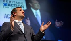 Sen. Ted Cruz, (R-Texas), speaks during the family leadership summit in Ames, Iowa, Saturday Aug. 10, 2013. (AP Photo/Justin Hayworth)