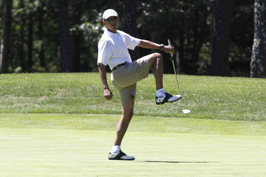 ** FILE ** President Obama reacts as he misses a shot while golfing on the first hole at Farm Neck Golf Club in Oak Bluffs, Mass., on the island of Martha's Vineyard on Sunday, Aug. 11, 2013. (AP Photo/Jacquelyn Martin)