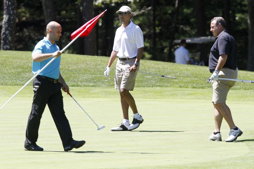 President Barack Obama, center, plays golf on the first hole at Farm Neck Golf Club in Oak Bluffs, Mass., on the island of Martha's Vineyard, with White House chef Sam Kass, left, and Robert Wolf, a Wall Street consultant, Sunday, Aug. 11, 2013. (AP Photo/Jacquelyn Martin)