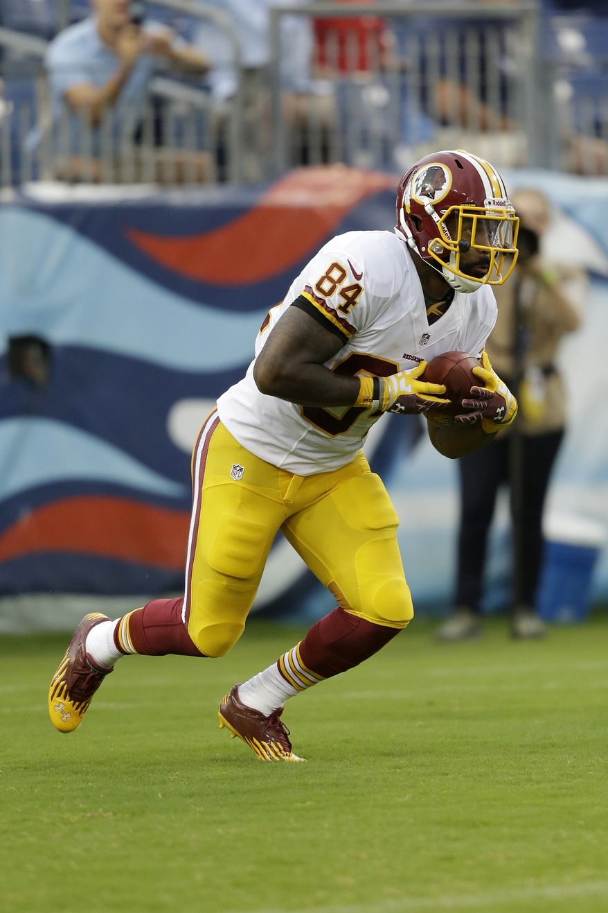 Washington Redskins tight end Niles Paul plays against the Tennessee Titans in the first quarter of a preseason NFL football game on Thursday, Aug. 8, 2013, in Nashville, Tenn. (AP Photo/Wade Payne)