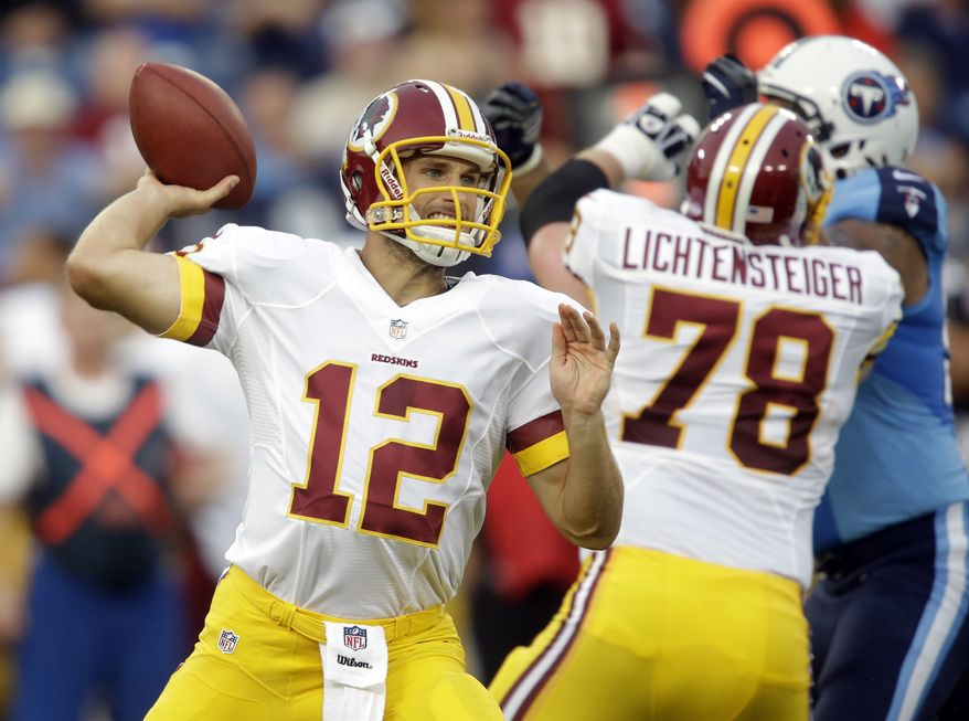 Washington Redskins quarterback Kirk Cousins (12) passes against the Tennessee Titans in the first quarter of a preseason NFL football game on Thursday, Aug. 8, 2013, in Nashville, Tenn. Cousins threw for a touchdown and missed only one pass as the Redskins beat the Titans 22-21. (AP Photo/Wade Payne)