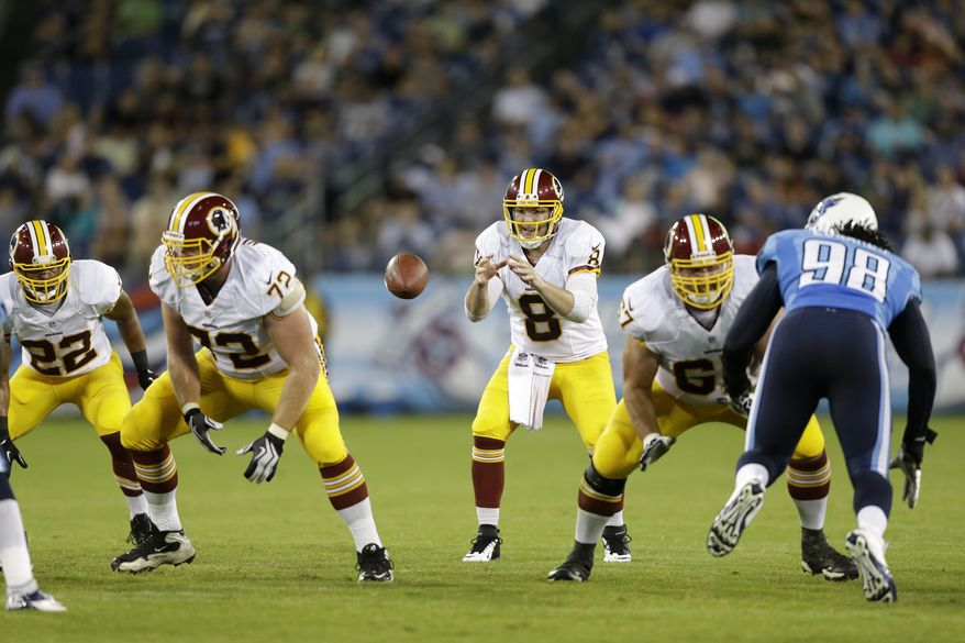 Washington Redskins quarterback Rex Grossman (8) takes a snap from Kevin Matthews (72) in the third quarter of a preseason NFL football game on Thursday, Aug. 8, 2013, in Nashville, Tenn. (AP Photo/Wade Payne)