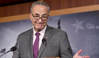 Sen. Chuck Schumer, New York Democrat, expresses his dismay at Russian Vladimir Putin leader granting asylum to American secrets leaker Edward Snowden, at a news conference at the Capitol in Washington, Thursday, Aug. 1, 2013. (AP Photo/J. Scott Applewhite)