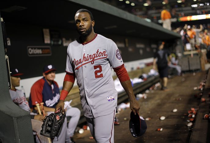 Washington Nationals center fielder Denard Span walks out of the dugout after an interleague baseball game against the Baltimore Orioles, Wednesday, May 29, 2013, in Baltimore. (AP Photo/Patrick Semansky)