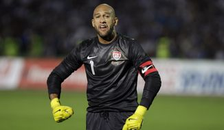 USA goalkeeper Tim Howard reacts during the friendly soccer match against Bosnia in Sarajevo, Bosnia, on Wednesday, Aug. 14, 2013. (AP Photo/Amel Emric)