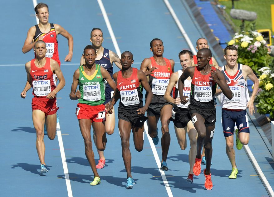 From right Britain's Chris O'Hare, Kenya's Nixon Kiplimo Chepseba, Germany's Homiyu Tesfaye, Kenya's Bethwell Birgen, Ethiopia's Mekonnen Gebremedhin and United States' Matthew Centrowitz compete in a men's 1500-meter heat at the World Athletics Championships in the Luzhniki stadium in Moscow, Russia, Wednesday, Aug. 14, 2013. (AP Photo/Martin Meissner)