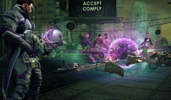 Use a weapon that generates a black hole in the video game Saints Row IV.