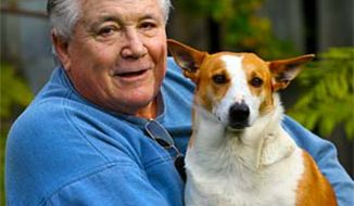 Murray Richards with Jackie, a Jack Russell mix, who was accused of biting a jogger. (credit: The Mercury of Australia)