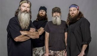 "Phil Robertson, Jase Robertson, Si Robertson and Willie Robertson of the A&E series, ""Duck Dynasty."" (Associated Press)"