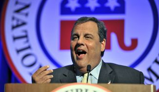 New Jersey Gov. Chris Christie speaks to fellow Republicans on Thursday, Aug. 15, 2013, during the Republican National Committee summer meeting in Boston. Republican officials are looking to promote a fresh group of diverse rising stars to help resolve their election woes, while frustrated party elders insist that all Republicans must offer more solutions for the nation's most pressing issues. (Associated Press)
